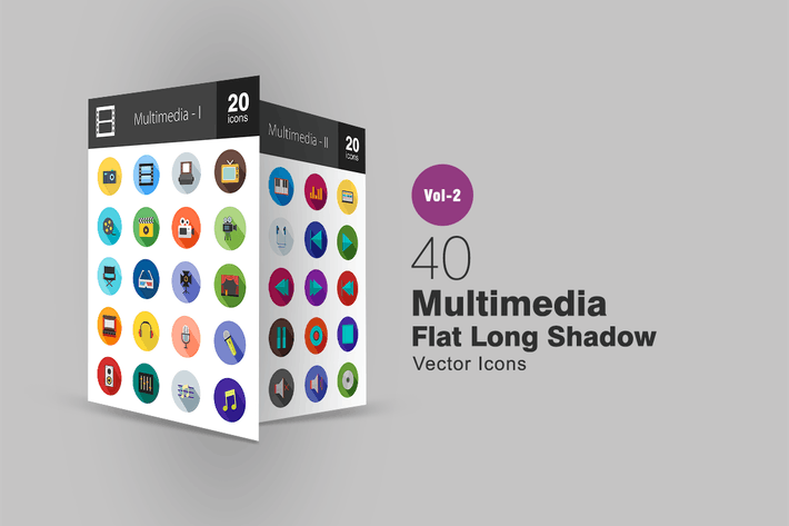 Thumbnail for 40 Multimedia Flat Long Shadow Icons