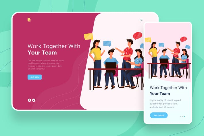 Thumbnail for Work Together With Team - Website Header