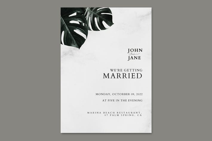 Monstera leaf wedding invitation card template