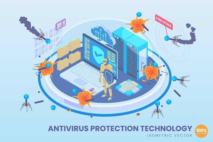Thumbnail for Isometric Antivirus Protection Technology Concept
