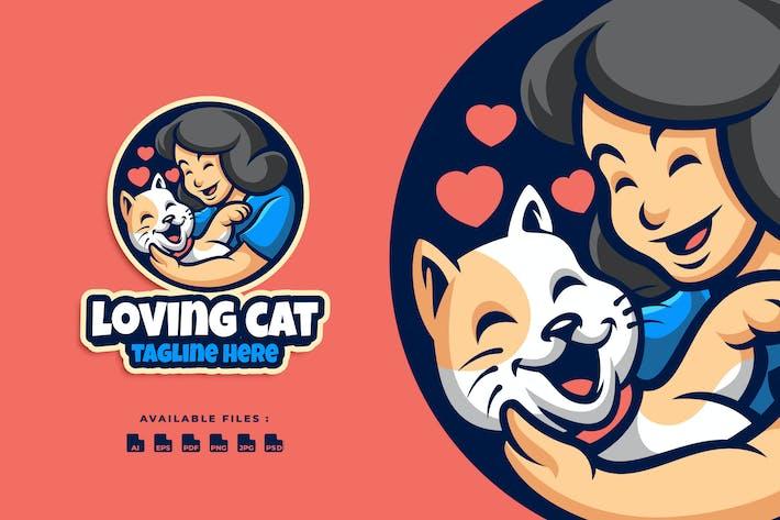 Loving Cat Cartoon Logo