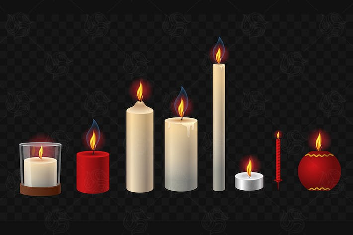 Burning candles - vector isolated clip art