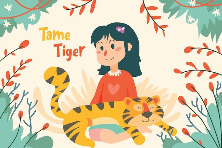 Thumbnail for Tame Tiger - Vector Illustration
