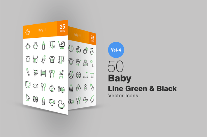 Thumbnail for 50 Baby Line Green & Black Icons