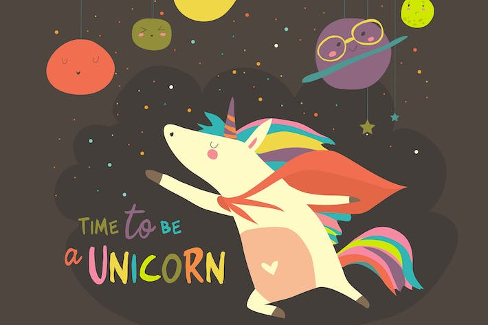 Thumbnail for Magic cute unicorn in cartoon style.