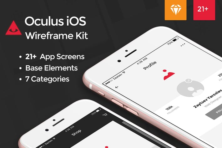 Thumbnail for Oculus iOS Wireframe UI Kit