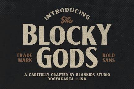 Blocky Gods Vintage Sans Serif Font