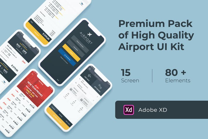 Thumbnail for Flight and Ticket Booking UI KIT for XD