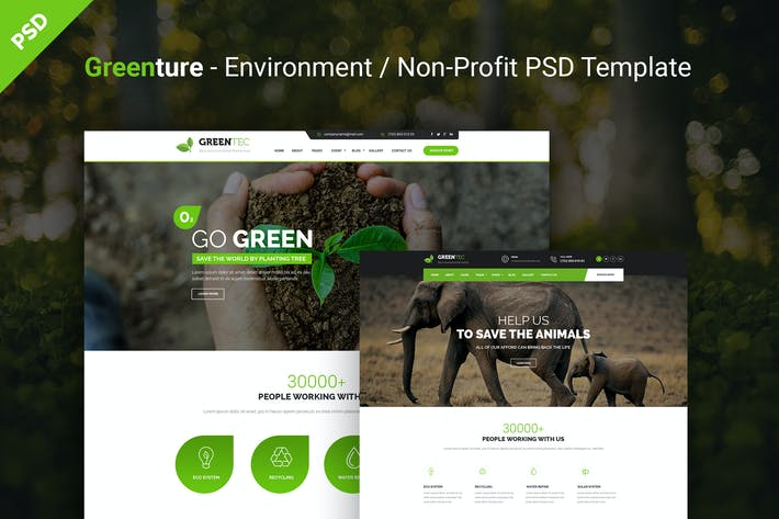 Thumbnail for Greenture - Environment / Non-Profit PSD Template