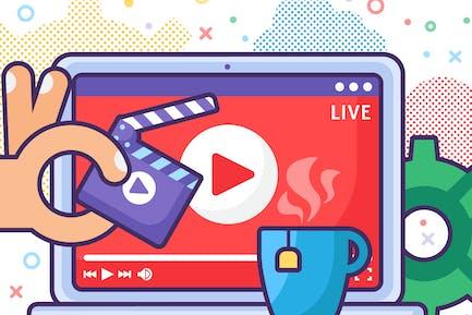 Live Stream Produzieren auf Laptop Illustration
