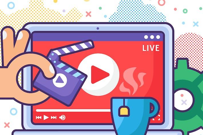 Live Stream Producing On Laptop Illustration