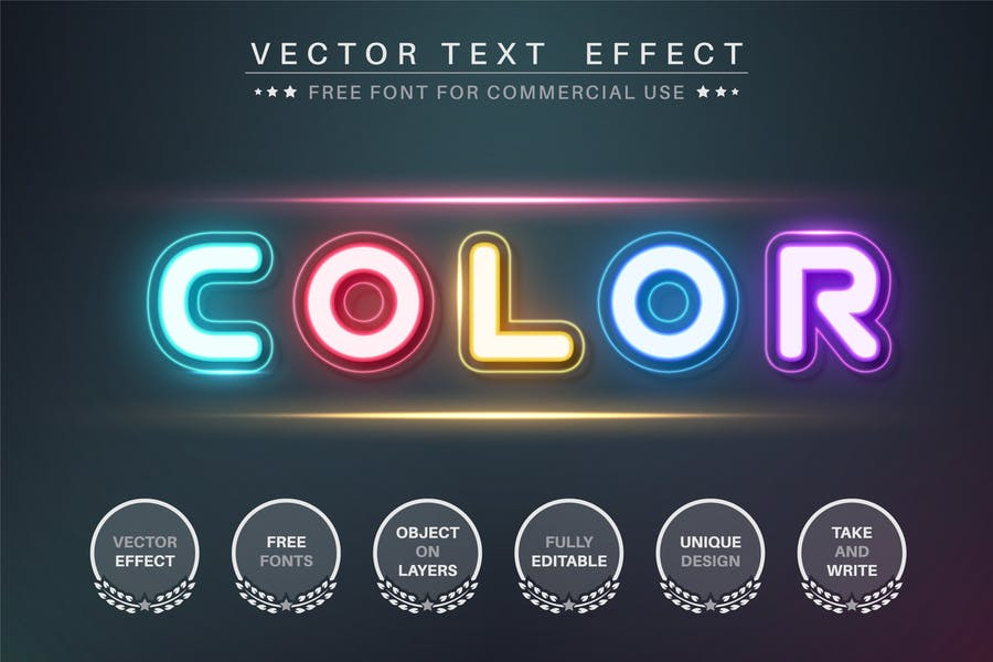 Five color - editable text effect, font style