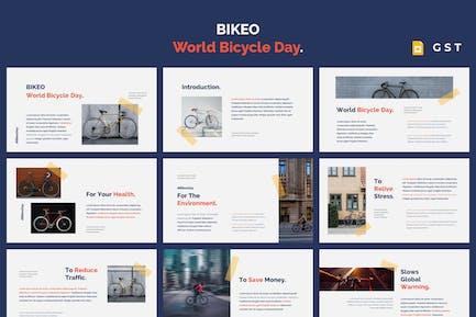 BIKEO - Всемирный день велосипеда Google Слайды Шаблон