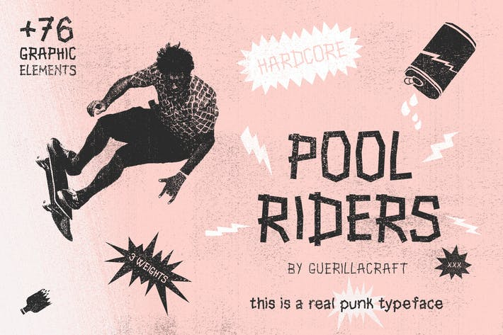 Thumbnail for Pool Riders Typeface + Graphic Elements