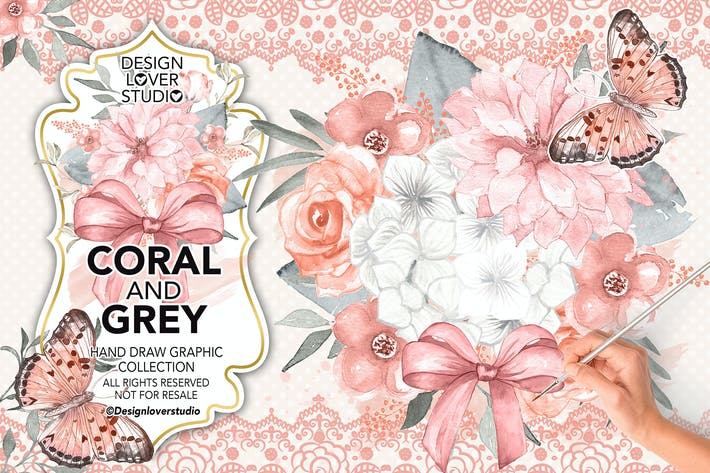 Thumbnail for Watercolor CORAL and GREY design