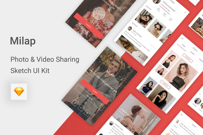 Thumbnail for Milap - Photo & Video Sharing UI Kit for Sketch