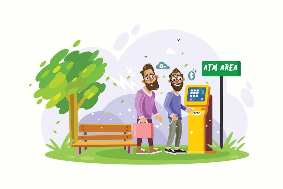 Download Queue at ATM Area Vector Illustration by IanMikraz