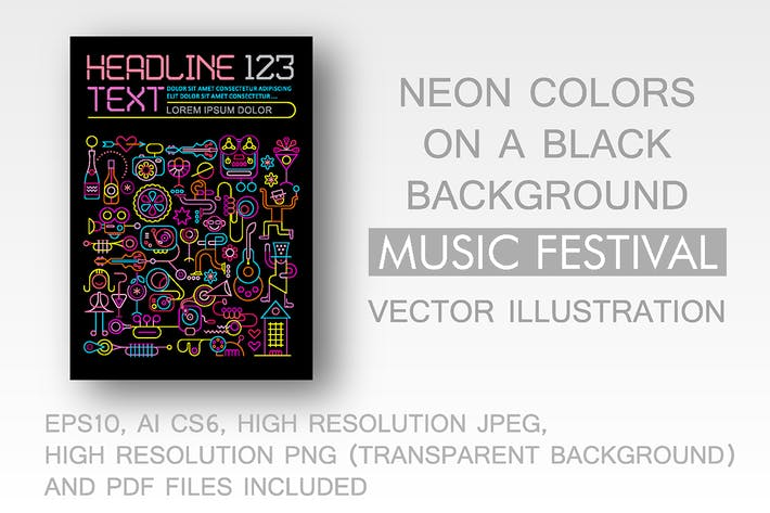 Thumbnail for Music Festival neon colors vector template design
