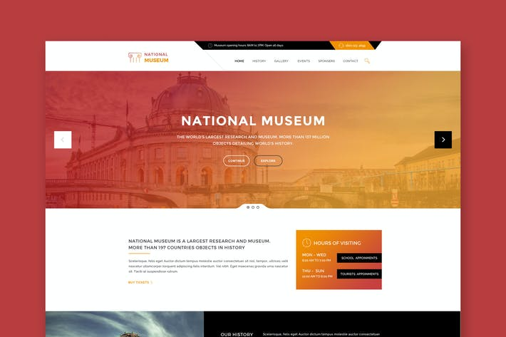 Thumbnail for Museum - Premium HTML Template