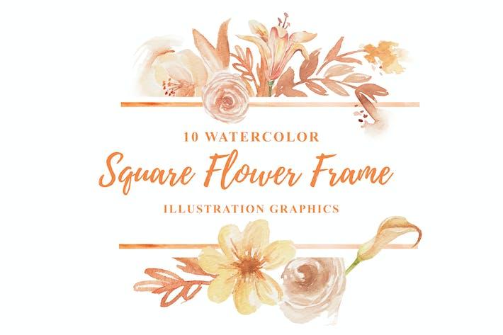 Thumbnail for 10 Watercolor Square Flower Frame Illustration