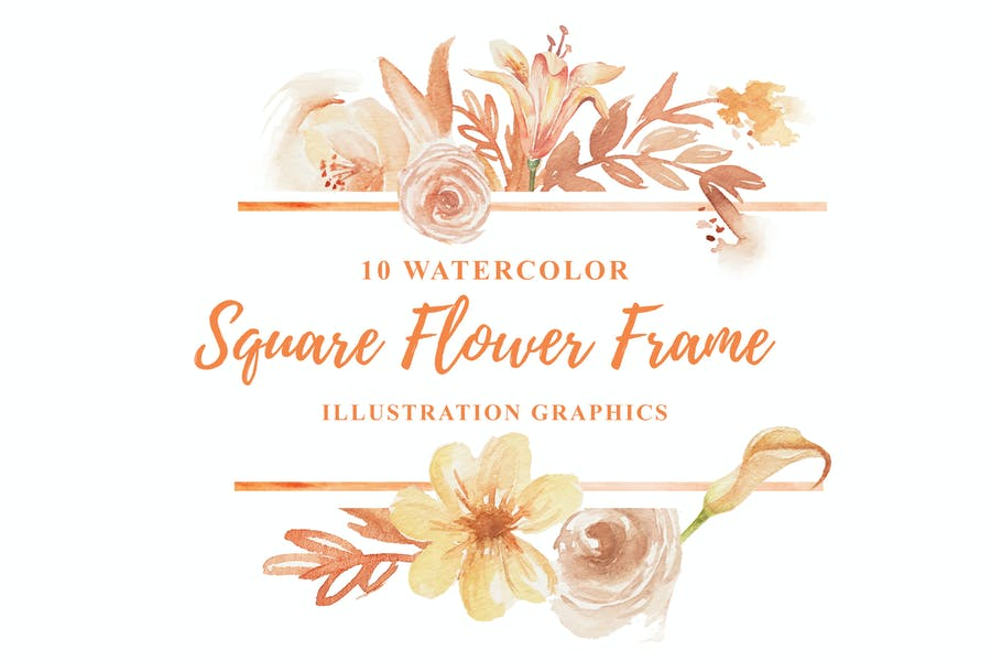 10 Watercolor Square Flower Frame Illustration