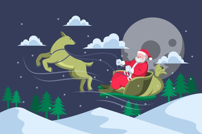 Thumbnail for Santa Riding Sleigh - Christmas Illustration