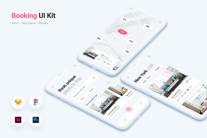 Thumbnail for Booking & Rental Mobile App UI Kit Template