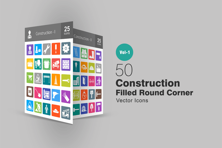 50 Construction Filled Round Corner Icons