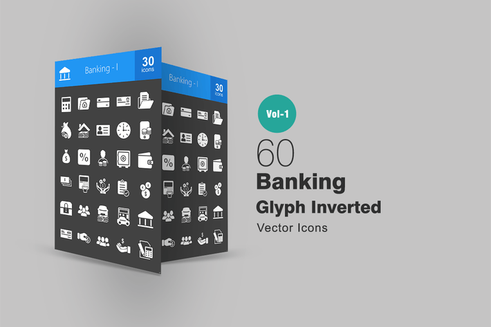Thumbnail for 60 Banking Glyph Inverted Icons