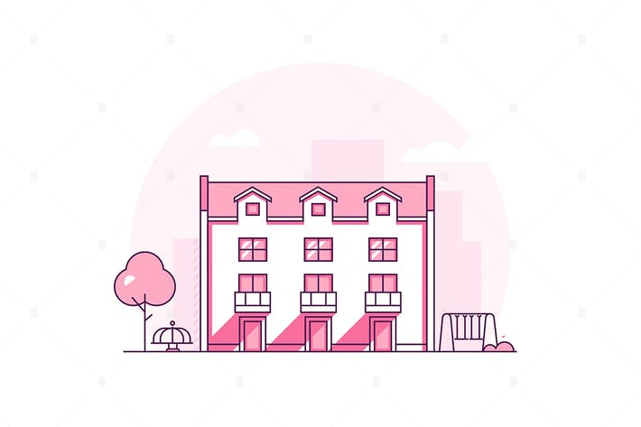 Thumbnail for Apartment house - line design style illustration