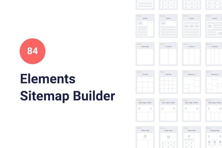84 Sitemap Elements for Google Slides
