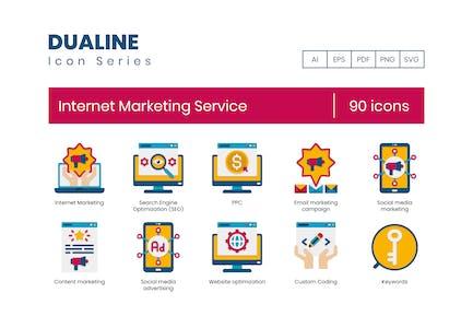 90 Internet Marketing Service Icons - Dualine Flat
