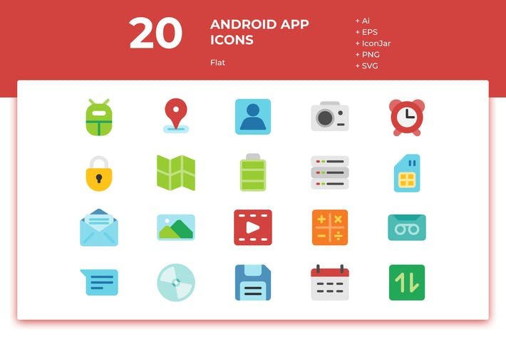 Thumbnail for 20 Android App Icons (Flat)
