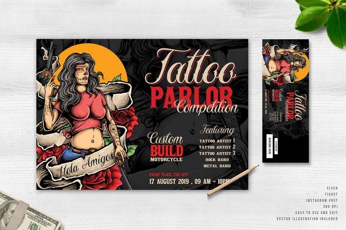 Thumbnail for Plantilla de Folleto & Ticket de Salón de Tatuajes