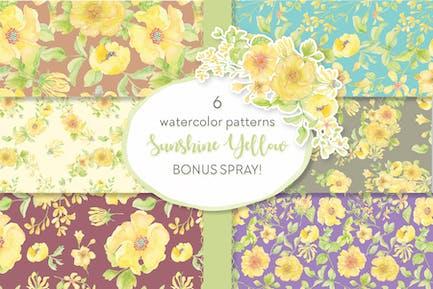 Sunshine Yellow Watercolor Patterns