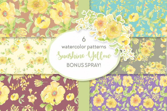 Thumbnail for Sunshine Yellow Watercolor Patterns