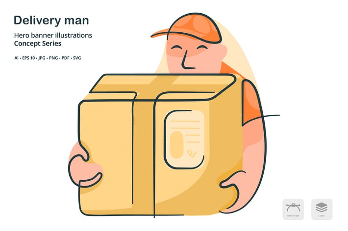 Thumbnail for Delivery Man Vector Illustration