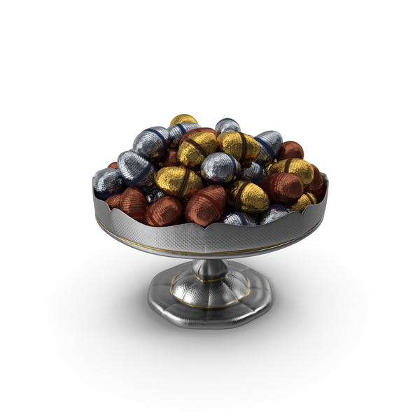 Fancy Silver Bowl with Fancy Easter Chocolate Eggs