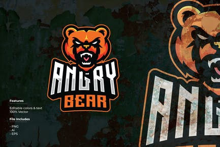 Angry Bear Sport and Esport Logo Template