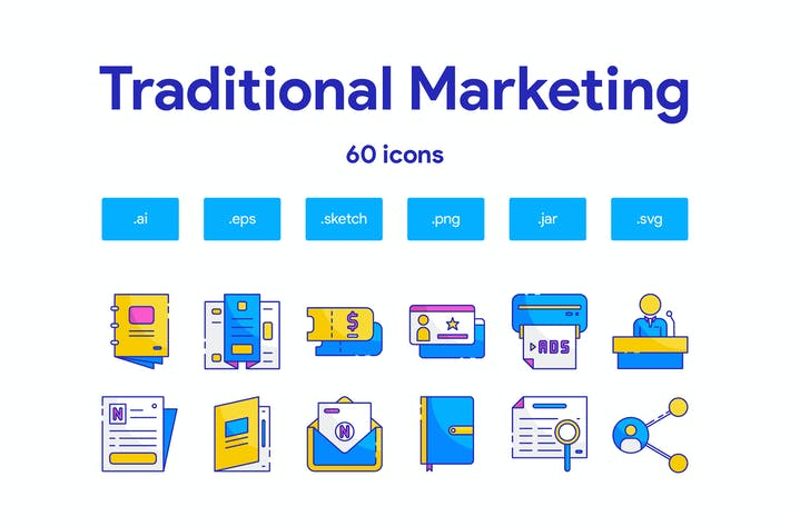 Traditionelles Marketing-Icon Set
