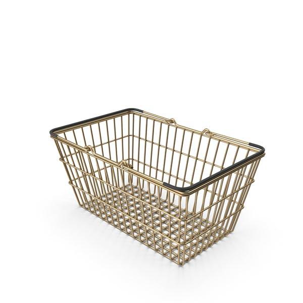 Gold Supermarket Basket with Black Plastic