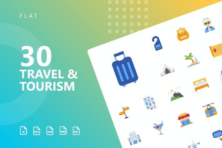 Путешествия и туризм Плоские Иконки