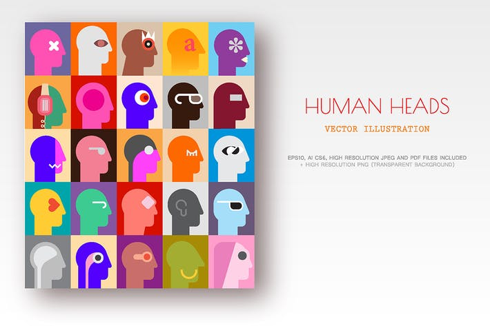 Thumbnail for Human Heads vector artwork