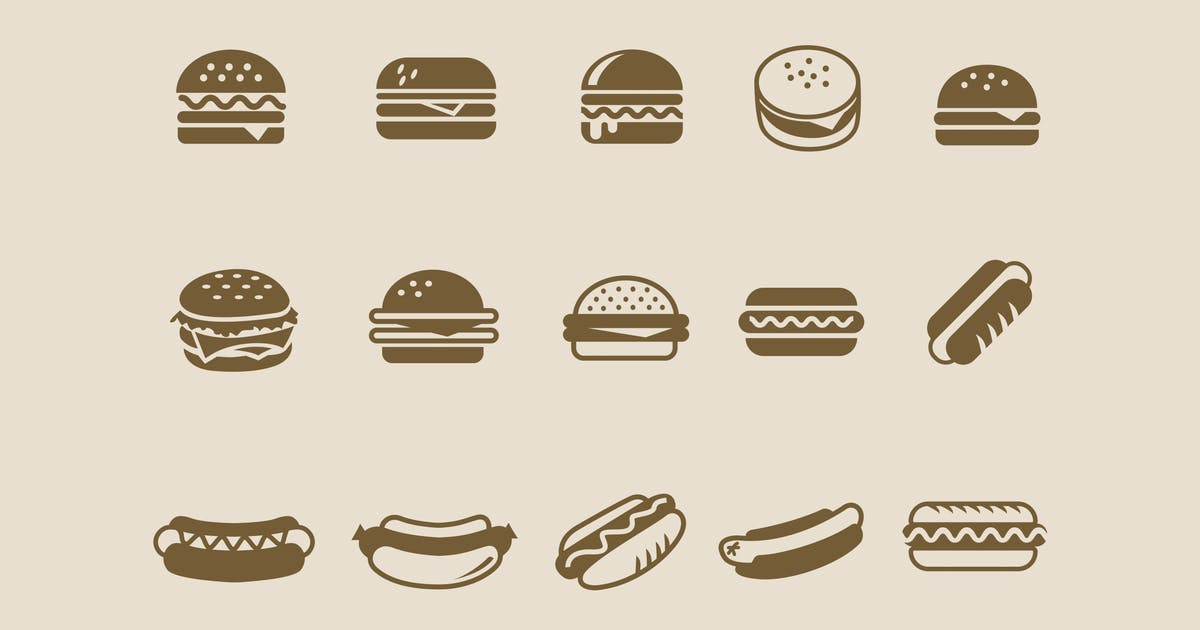 Download 15 Burger Hot Dog Icons by creativevip