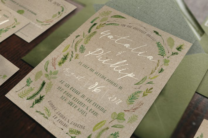 Thumbnail for Watercolor Foliage Wedding Invitation