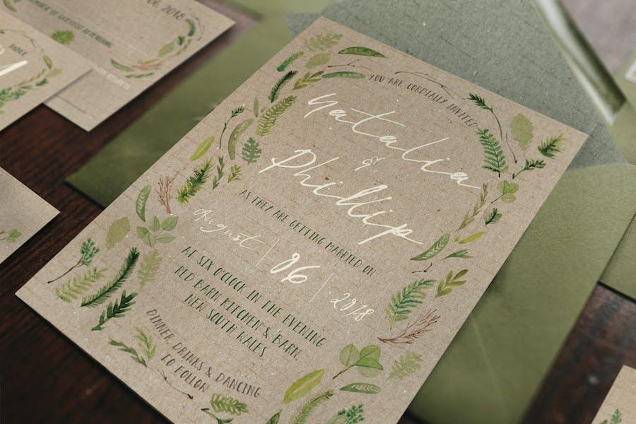 Watercolor Foliage Wedding Invitation