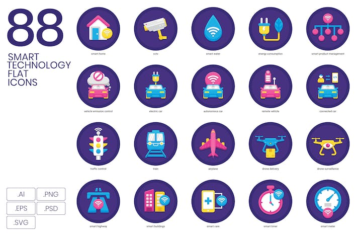 Thumbnail for Smart Technology Flat Icons