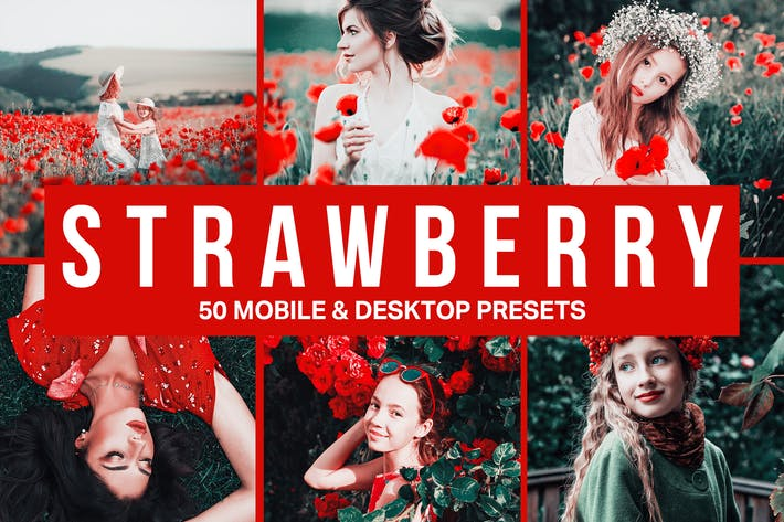 Thumbnail for 50 Strawberry Lightroom Presets and LUTs