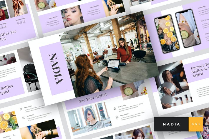 Thumbnail for Nadia - Hair Salon Google Slides Template
