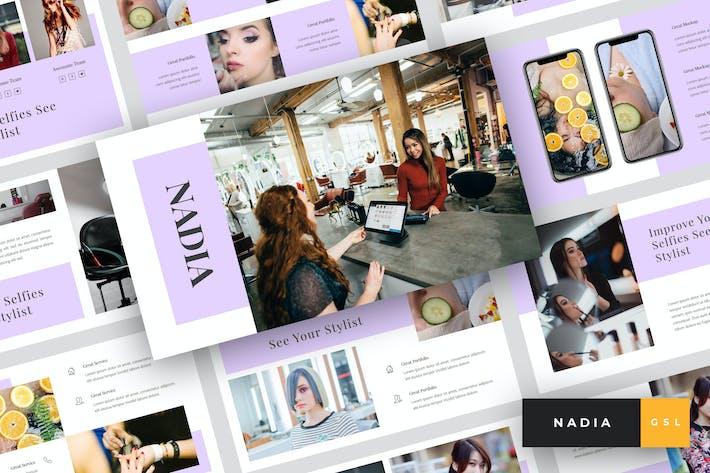 Cover Image For Nadia - Hair Salon Google Slides Template